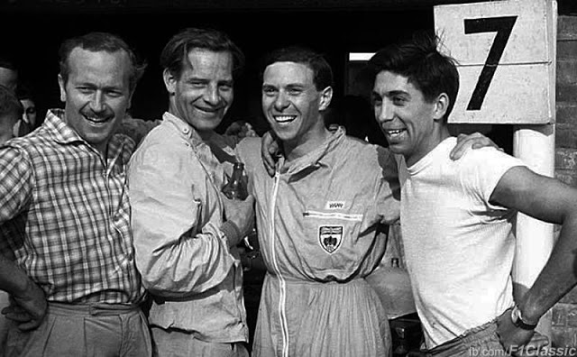 In the developing years; Colin Chapman, Innes Ireland, Jim Clark and Alan Stacey
